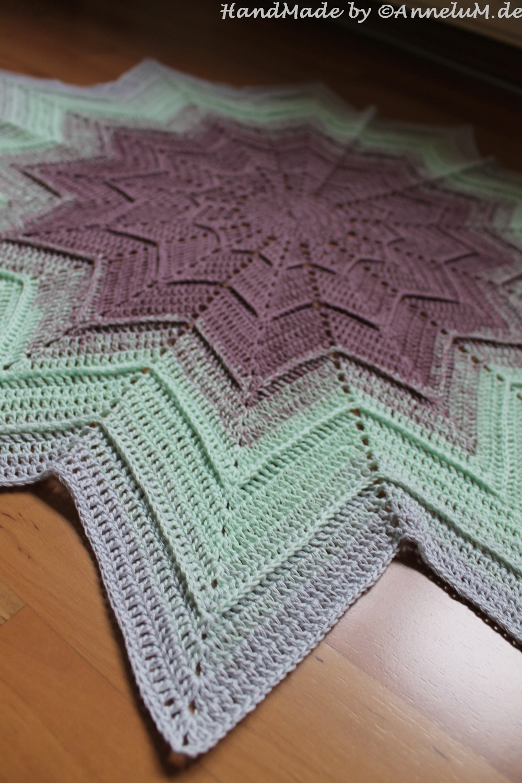 Beautiful Sterne Decke Muster Häkeln Sketch - Decke Stricken Muster ...