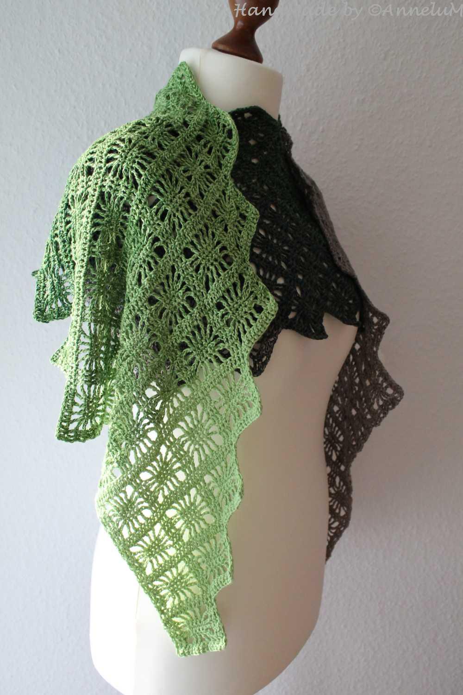 Langer Schal Gehäkelt Mit Dem Sonnenfenstermuster Annelum