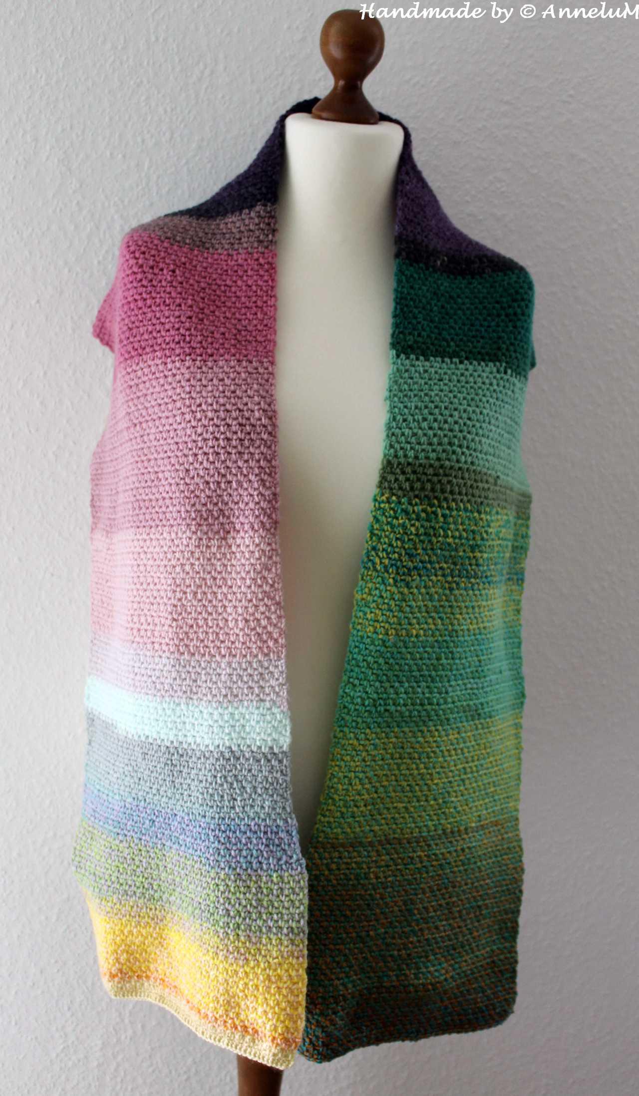 Moss-Stitch Schal Handmade by AnneluM